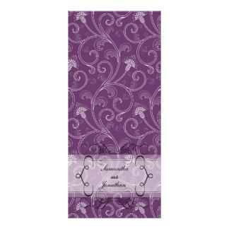 Programa del boda - Victorian púrpura elegante flo Lonas Personalizadas