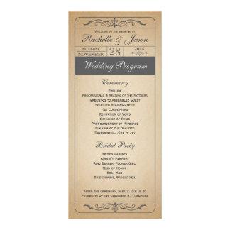 Programa del boleto del boda del vintage lonas