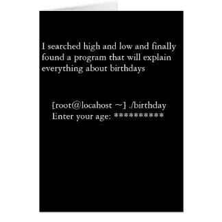 Programa del cumpleaños tarjeta de felicitación