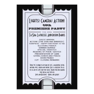 Programa del fiesta de la película en boleto invitación 12,7 x 17,8 cm