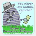 Programa divertido de la protección del huevo de pegatina cuadrada