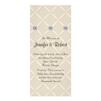 Programa elegante acolchado marfil del boda de los tarjetas publicitarias a todo color