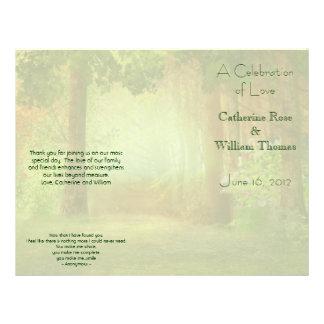 """Programa elegante al aire libre del boda del bosqu folleto 8.5"""" x 11"""""""
