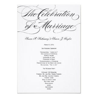 Programa elegante del boda de la escritura - negro invitación 12,7 x 17,8 cm