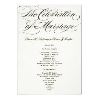 """Programa elegante del boda de la escritura - negro invitación 5"""" x 7"""""""