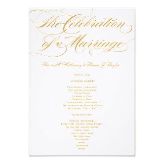 """Programa elegante del boda de la escritura - oro invitación 5"""" x 7"""""""