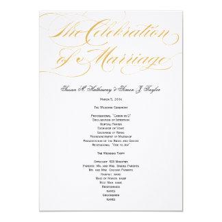 """Programa elegante del boda de la escritura - oro y invitación 5"""" x 7"""""""