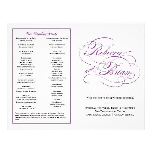 Programa elegante del boda de la escritura - púrpu flyer a todo color