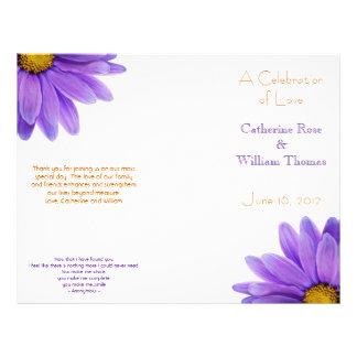 """Programa elegante del boda de la margarita púrpura folleto 8.5"""" x 11"""""""