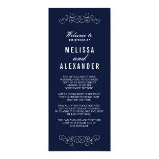 """Programa elegante del boda de la marina de guerra invitación 4"""" x 9.25"""""""