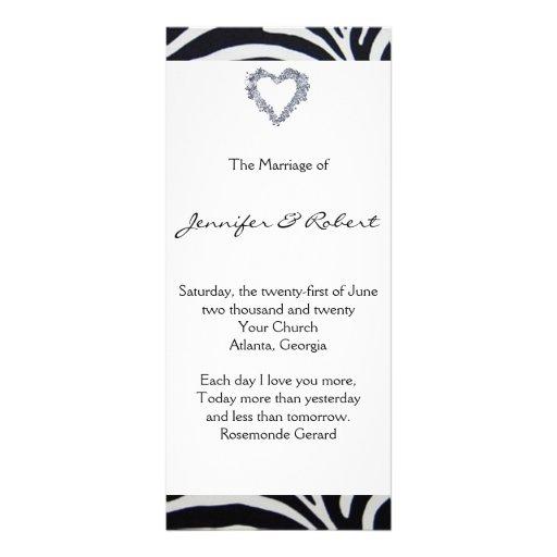 Programa elegante del boda de la raya de la cebra lonas personalizadas