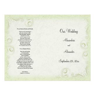 Programa elegante del boda de Scrollwork del verde Flyer Personalizado