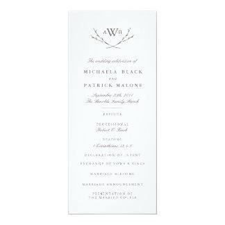 """Programa elegante del boda del bosque invitación 4"""" x 9.25"""""""