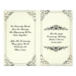 "programa elegante del boda del flourish folleto 4.5"" x 5.6"""