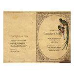 Programa elegante del boda del pájaro de quetzal d tarjetones