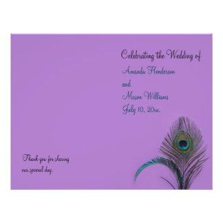 Programa elegante del boda del pavo real (púrpura) tarjeton