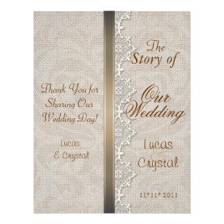"""Programa elegante precioso del boda del cordón y folleto 8.5"""" x 11"""""""