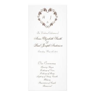 Programa elegante rústico del boda del monograma d