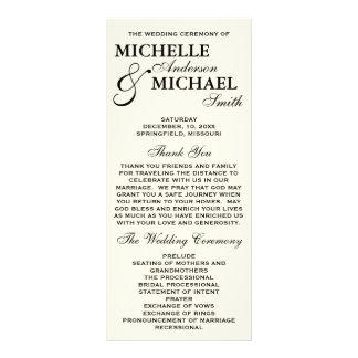 """Programa elegante simple del boda folleto publicitario 4"""" x 9"""""""