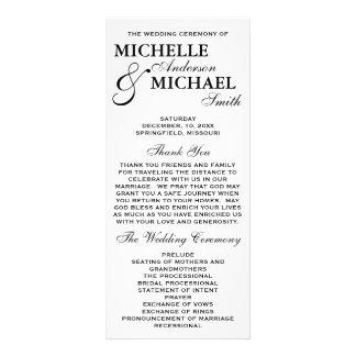 Programa elegante simple del boda lonas personalizadas