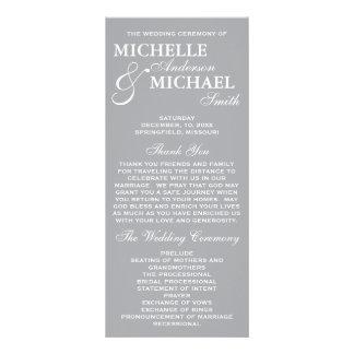 Programa elegante simple del boda lona personalizada
