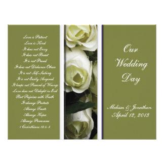 Programa elegante y verde del boda tarjetón