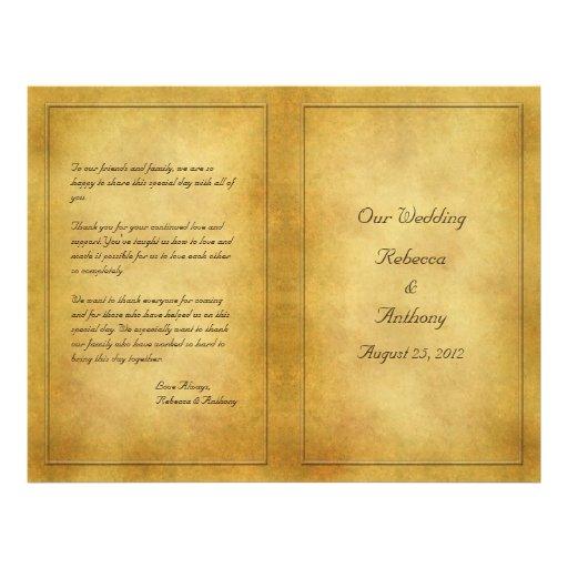 Programa envejecido vintage del boda de la mirada  flyer a todo color