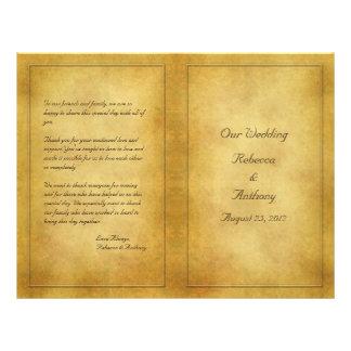 """Programa envejecido vintage del boda de la mirada folleto 8.5"""" x 11"""""""