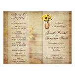Programa envuelto guita del boda del girasol del flyer personalizado