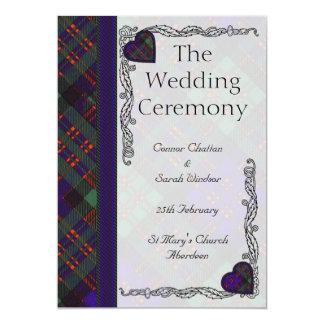"""Programa escocés del boda del tartán - clan de invitación 5"""" x 7"""""""