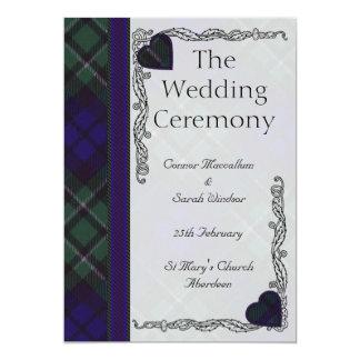 Programa escocés del boda del tartán - Maccallum Invitación 12,7 X 17,8 Cm