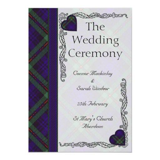 Programa escocés del boda del tartán - Mackinlay Invitación Personalizada