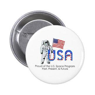 Programa espacial de los E.E.U.U. de la CAMISETA Pin Redondo 5 Cm
