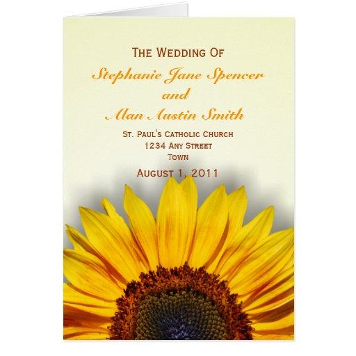 Programa espectacular del boda del girasol tarjeta de felicitación