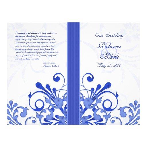 """Programa floral abstracto azul y blanco del boda folleto 8.5"""" x 11"""""""