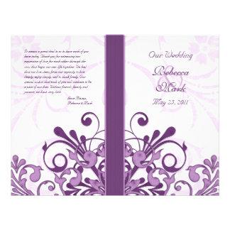 """Programa floral abstracto púrpura y blanco del folleto 8.5"""" x 11"""""""