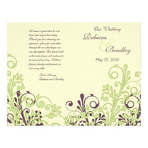 Programa floral abstracto verde y púrpura del boda tarjetas informativas