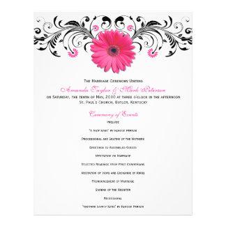 Programa floral blanco del boda del negro rosado d tarjetas publicitarias
