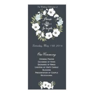 Programa floral blanco y negro del boda diseño de tarjeta publicitaria