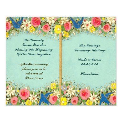 programa floral colorido del boda tarjetón