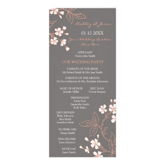 Programa floral coralino gris del boda lonas publicitarias
