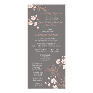 Programa floral coralino gris del boda tarjeta publicitaria personalizada