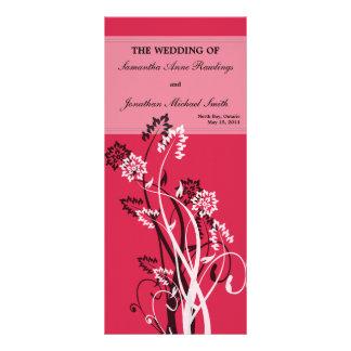 Programa floral de color rojo oscuro del boda tarjetas publicitarias a todo color