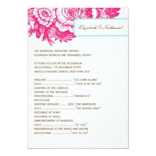 """Programa floral de lujo del boda en rosa y azul invitación 5"""" x 7"""""""