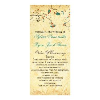programa floral del boda de la aguamarina rústica plantillas de lonas