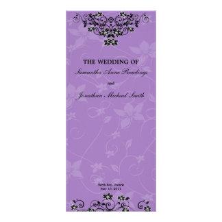 Programa floral del boda de la lámpara púrpura de  lonas personalizadas