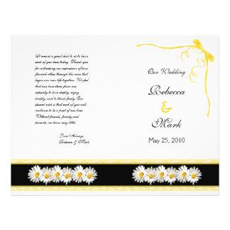 Programa floral del boda de la margarita de Shasta Flyer A Todo Color