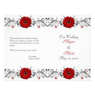 Programa floral del boda de la margarita roja del  tarjetones