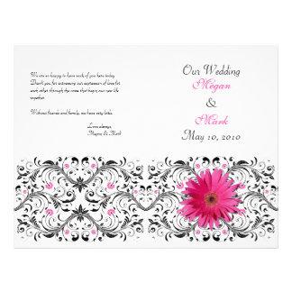 """Programa floral del boda de la margarita rosada de folleto 8.5"""" x 11"""""""
