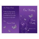 Programa floral del boda de la mariposa gris púrpu tarjetas informativas